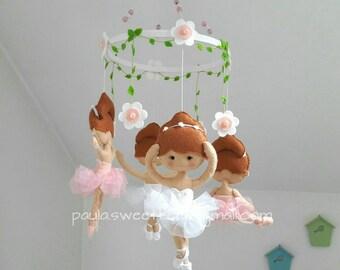 Ballerinas baby crib felt mobile