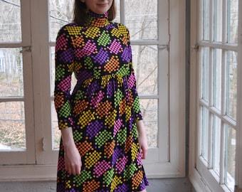 Colorful Day Glo Polka Dot Sixties Mod Dress/Vintage 1960s/Turtleneck Mini Dress/Size Small
