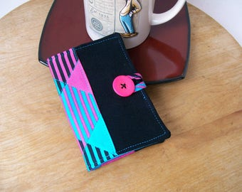 Colorful Geometric TEA BAG WALLET Black Turquoise Pink with Loop Closure & Pink Button