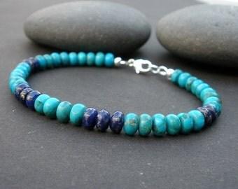 Men Women Turquoise Bracelet, Men Women Lapis Bracelet, Rondelle Shape 6mm, 925 Sterling Silver, December Birthstone Jewely For Men