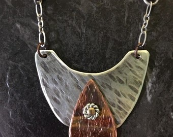 ONE FUNKY TEARDROP...funky..bohemian..eclectic..oxidized sterling..torched copper