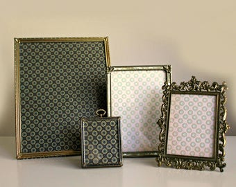 vintage gold metal frames lot of 4 8 x 10 5 x 7 3 x 5 and 2 34 x 3 12 wedding frames romantic decor gold toned frames