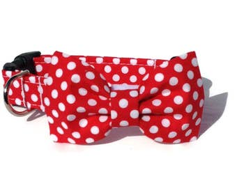 Red Polka Dot Dog Bow Tie and Collar Set  for Small to Large Dogs