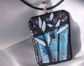 WINTER BOUQUET a blue purple fused glass jewelry pendant with necklace