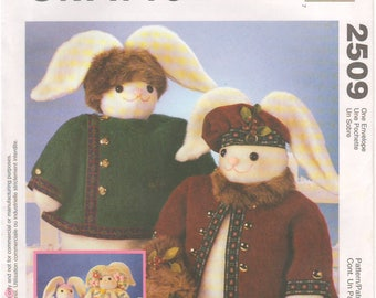 "1999 - McCalls 2509 Sewing Pattern Bunny Rabbit 18"" Stuffed Animal Doll Clothes Easter Winter Home Decor Decoration Holiday Crafts"