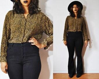 80s Lady Cheetah Blouse L