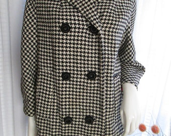 Vintage Ladies Double Breasted Black/White GINGHAM Mid Length JACKET  no label