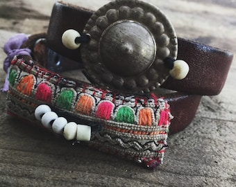 Leather wrap bracelet with Hmong textile and Turkoman button | Boho leather wrap, leather bracelet, leather cuff, leather wrap, 2 x wrap