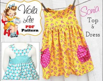 Girls Dresses, Sewing Pattern. Toddler Dress. Sewing Patterns. Dress Pattern. Girl's Dress Pattern. Girl's Top Pattern. PDF Pattern. Sonia