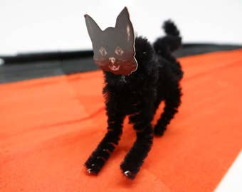 1950's Chenille Black Cat Ornament
