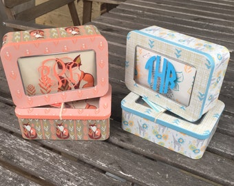 SALE!!! Personalized Monogram Baby Gift Note Card Tin Keepsake Box