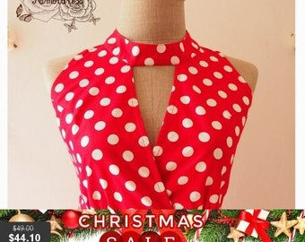 Christmas SALE Red Party Dress Polka Dot High Neck Vintage Style Dress Red Bridesmaid Dress Sundress Summer Dress Size S,M,L