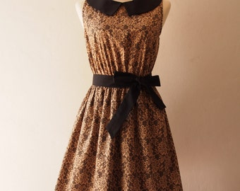 Brown Summer Dress Collar Sleeveless Sundress Retro Vintage Bridesmaid Tea Party Dress
