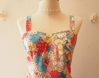 Backless Sundress Vintage Modern Summer Dress Hello Kitty Dress Back Tied Bow Party Dress Birthday Cartoon Character Dress Gift for Her