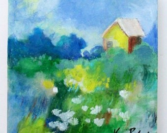 "Small Abstract Painting, Loose Brushstrokes, Original Landscape, Colorful Little House, Yellow Blue, ""Home"" 8x8"""