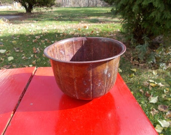 Vintage All Copper Flower Pot Bowl Ribbed Design  Indoor Outdoor Garden Patio herbs