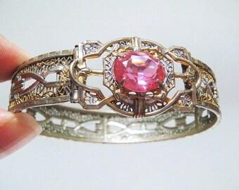 Antique Art Deco E.L Weed Designer Filigree Czech Crystal Glass Bangle Bracelet