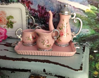 Dollhouse Miniature Shabby Chic Vintage Georgian Style Pink and Silver 4 PIECE Tea/Coffee Set with Roses Motif