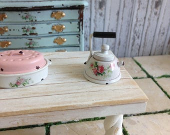 Dollhouse Miniature Shabby Chic White Vintage Style Tea Kettle with Roses Motif