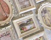 Oval PICTURE FRAMES set - shabby chic wedding -cottage chic nursery - w/ Glass N Backing