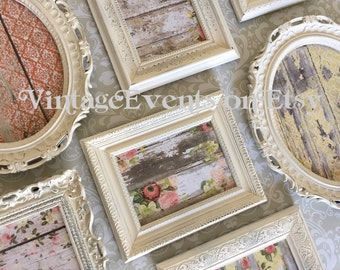 Ornate PICTURE FRAMES set - shabby chic wedding -cottage chic nursery - w/ Glass N Backing