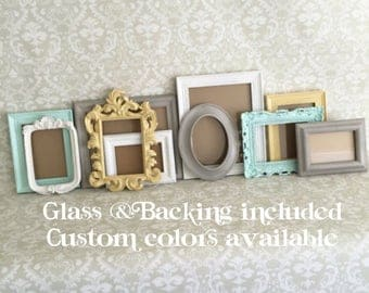 Custom Colors Gallery PICTURE FRAMES -  Vintage Style - shabby chic wedding - Glass and Backing - Mint - Yellow - Grey