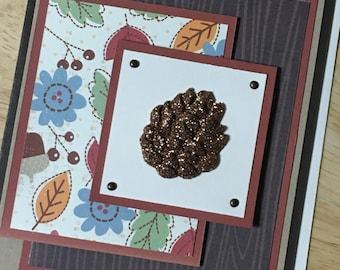 Glittery Fall Pinecone Card