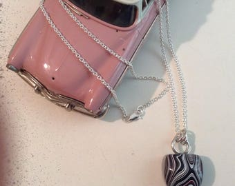 Fordite, Detroit area Metallic Vintage Car Paint Pendent with Sterling Silver 18 inch Chain
