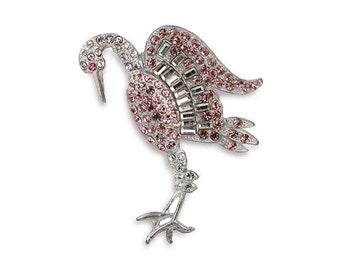 1940s Rhinestone Stork Brooch, Pink Rhinestones, Clear Baguette Rhinestones, Silver Metal Setting, Vintage Crane