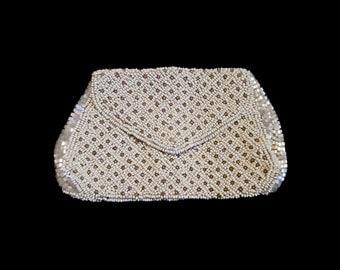 Vintage Beaded Evening Bag Envelope Purse Belt Finger Coinpurse Floral Lined Seed Bead Tube Bead Clutch Handbag