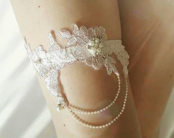 Wedding garter, lace garter, bridal garter - Embellished floral garter