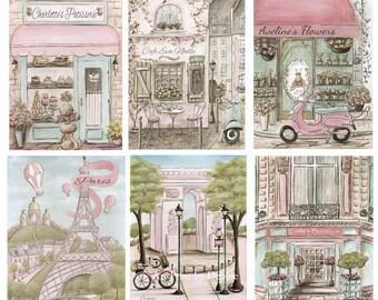 Vintage Paris Themed Nursery Wall Art, Set Of 6, Personalized Blush Pink Bedroom Art Prints, Shabby Chic Dreamy Parisian Nursery, 6 Sizes