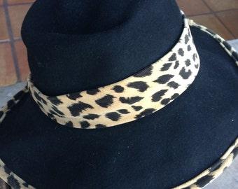 Vintage wool hat fashion floppy leopard print