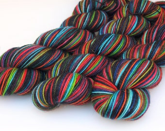 Ready To Ship: Self Striping Fingering Weight Sock Yarn, Sparkle Sock, Wool and Nylon, 20 Color Stripe, Hand Dyed, Suicide Squad