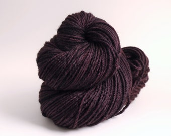 Hand Dyed Worsted Weight Yarn, 218 yards, Super Wash Merino Wool, Plumtastic