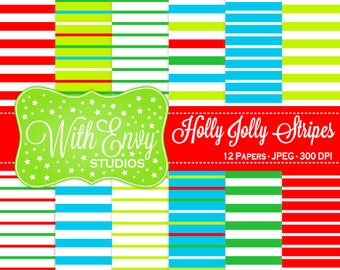 SALE Christmas Digital Paper - Christmas Scrapbook Paper - Holiday Digital Paper - Striped Digital Paper - Personal & Commercial Use