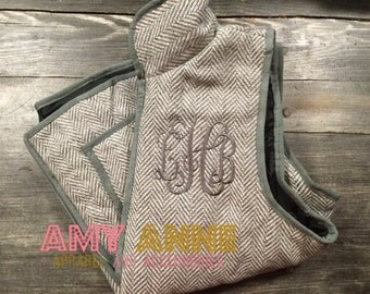 Light Gray Monogrammed Herringbone Quilted Vest Personalized Puff Vest Cold Weather Preppy Women's S, M, L, XL Chocolate Brown