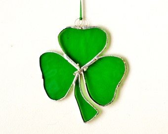 Stained Glass Shamrock, Stained Glass Suncather, Lovely Gift, St. Patric's Day, Irish Sun Catcher, Home decor
