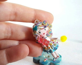 On sale!! 20% discounted! Kawaii Candy Doll necklace. One of a kind.