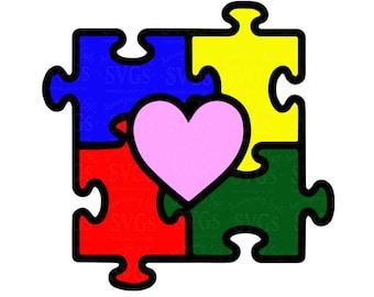 SVG - Autism SVG - Autism Heart Puzzle - Autism Awareness - Puzzle piece - Autism Puzzle - Autism Heart - Autism Rainbow - Rainbow Puzzle