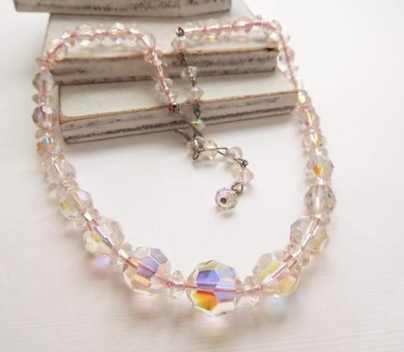 Vintage Pastel Pink Crystal Graduated Bead Choker Necklace V47