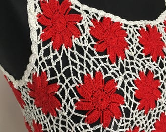 CLEARANCE Hippie hand crochet Blouse '70 Blouse Woodstock Blouse Bohemian read and white Blouse hand made crochet Doily Blouse