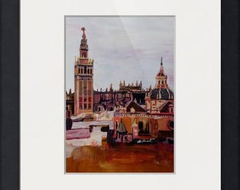 Seville Skyline in Andalucia Spain with Giralda- Fine Art Print - Original Available