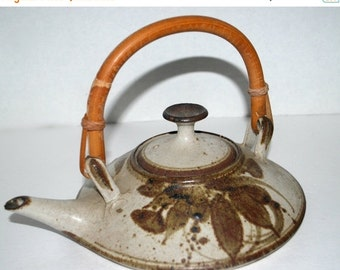 on sale Stoneware tea pot  sake warmer  wood fired vintage pottery wheel thrown tea pot with bamboo handle