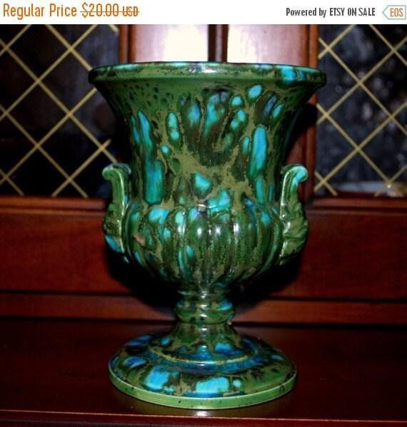 Christmas sale Bern Czech vintage turquoise multicolor splash  vase