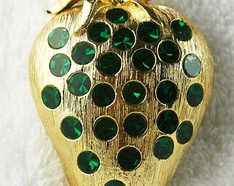 "Weiss Berry Brooch Signed Green Rhinestones Gold Metal Fruit Pin 2.5"" Vintage"