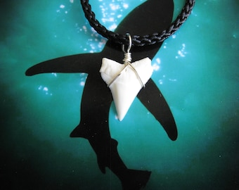 Shark Tooth Necklace, Modern Day White Shark tooth, Braided cord, Silver plated wire wrap