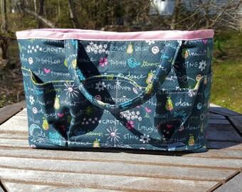 Organizer Tote, sewing caddy, knitting bag, project bag, project tote, crochet bag, organizer caddy, organizer tote,    travel tote