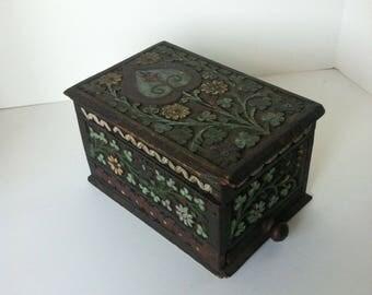 CIGARETTE DISPENSER, Vintage Painted Wood, Cigarette Box