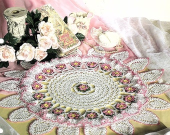 Ruffles and Roses Doily Pattern Instant Download, cute cross stitch, Free shipping, PDF